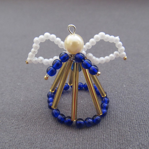 Vánoční andílek 3D modrozlatý