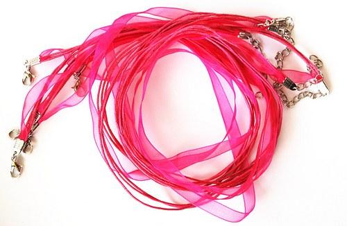 Náhrdelník - organza stuha růžová