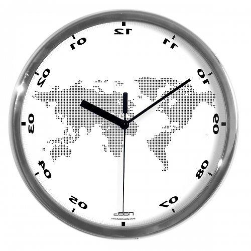 Obrácené hodiny s mapou světa
