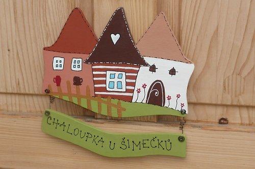 Dřevěná jmenovka na dveře CHALOUPKOV