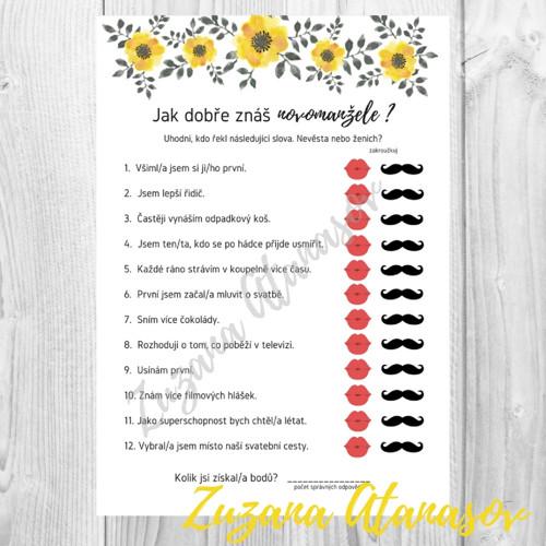 Znáte novomanžele? č. 4 - žluté květy - k tisku