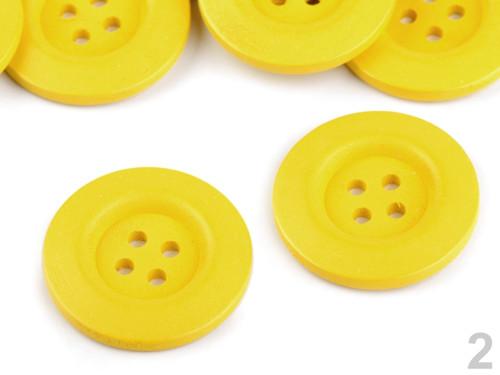 Dřevěný dekorační knoflík 4cm (2ks) - žlutá