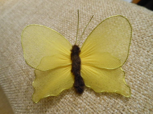 Nylonový motýl tmavě žlutý