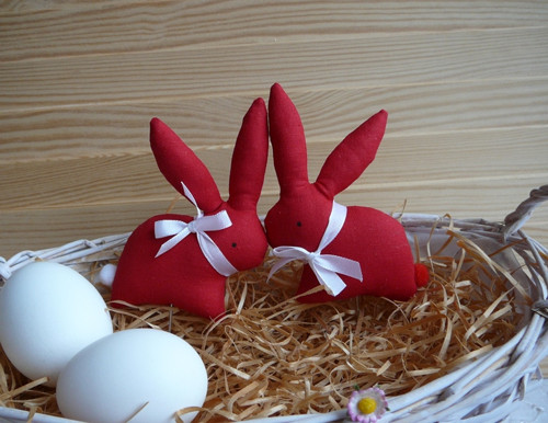 2 zajíčci  - červení, bílé mašle