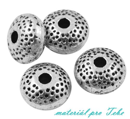 zlaté/strieborné rondelky tibetského typu - 20 ks