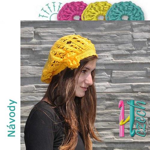 Háčkovaný baret jarní žlutý