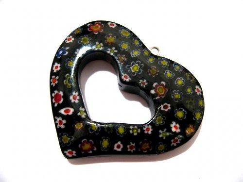 1104040/Millefiori srdce černé s mix květy, 1 ks