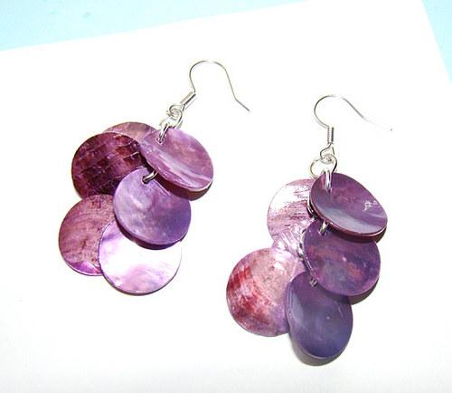 náušnice -  fialové penízky z perleti