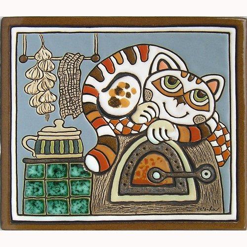 Keramický obrázek - Kočka na peci K-107-N