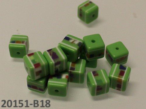 20151-B18 Korálky kostky mozaika ZELENÉ bal.10ks