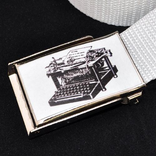 Dámský opasek do bokovek -psací stroj černá