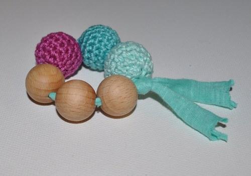 Kroužek z dřevěných korálků tyrkysovo-fialový