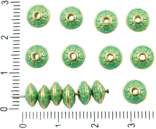 30ks Antique Gold Tón Tyrkysová Zelená Patina Umýt