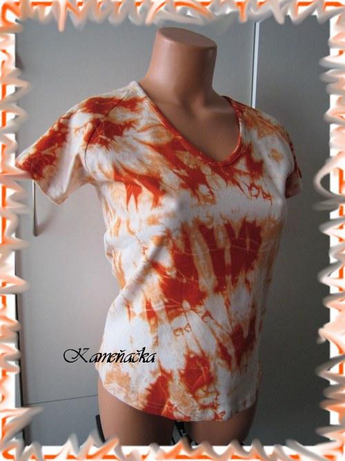 dámské triko bílo-oranžové batika