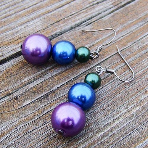 náušnice perličkové menší v barvách pavích per