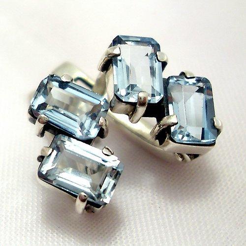 Náušnice «Domino» - stříbro 925, modrý topaz