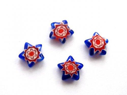 1101311/Hvězda Millefiory modro/červená, 1 ks