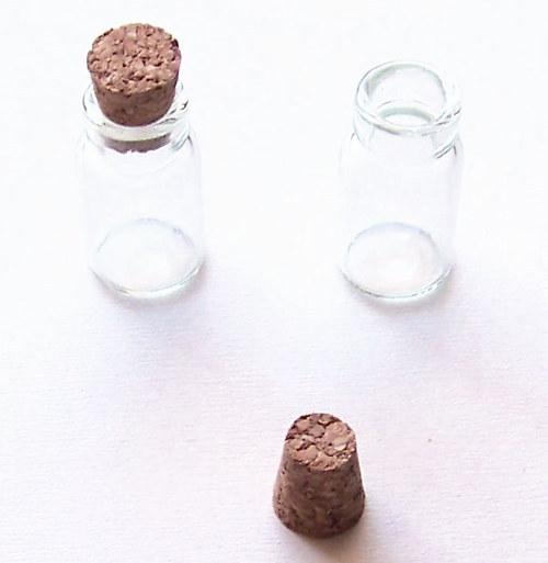 Mini lahvička s uzávěrem/ 17x10mm/ 3ks