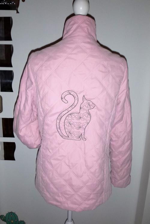 Růžový-originální bundo-kabátek kočičí-vel.M