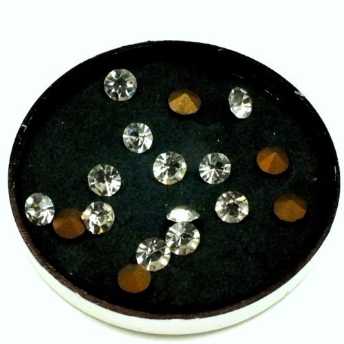 štras - šatony čiré l.,25 ks, 5 mm