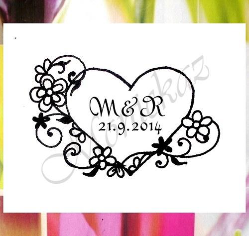 Svatební č.46a květ. srdce iniciály Omyv. razítko.