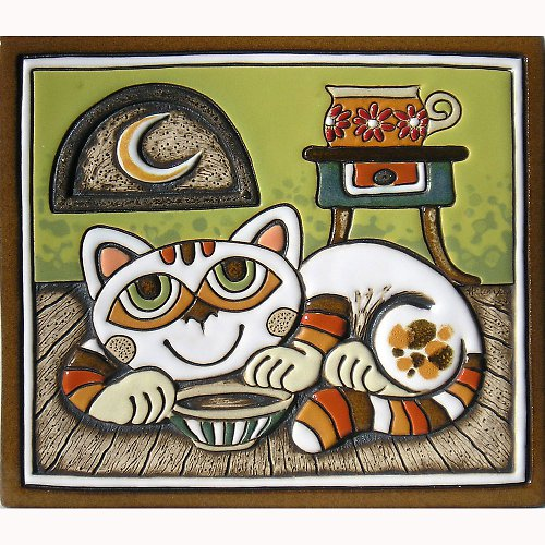 Keramický obrázek - Kočka a stolek K-114-Z