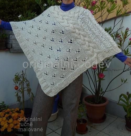 pletené pončo - smetanové
