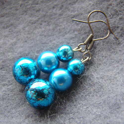 náušnice  mramorované modročerné