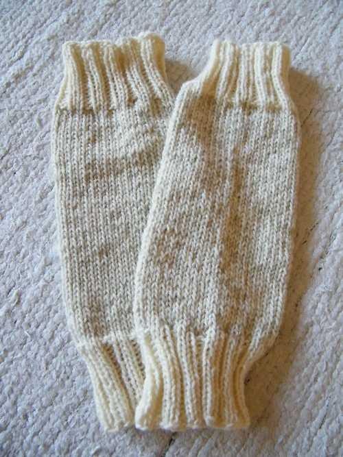 Béžové vlněné návleky  31 cm