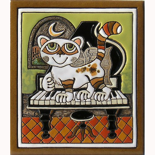 Keramický obrázek - Kočka a klavír K-150-Z1