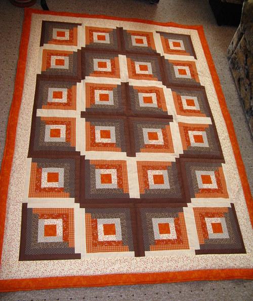 Deka patchwork hnědo šedá - čtverce