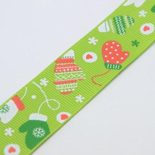 Stuha rypsová s vánočním motivem 9mm - sv. zelená