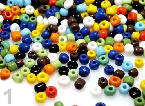 Rokajl skleněný 4mm MIX barev 20g neprůhledný
