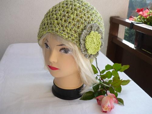 Čepice v zeleno-žlutém melíru...VÝPRODEJ...