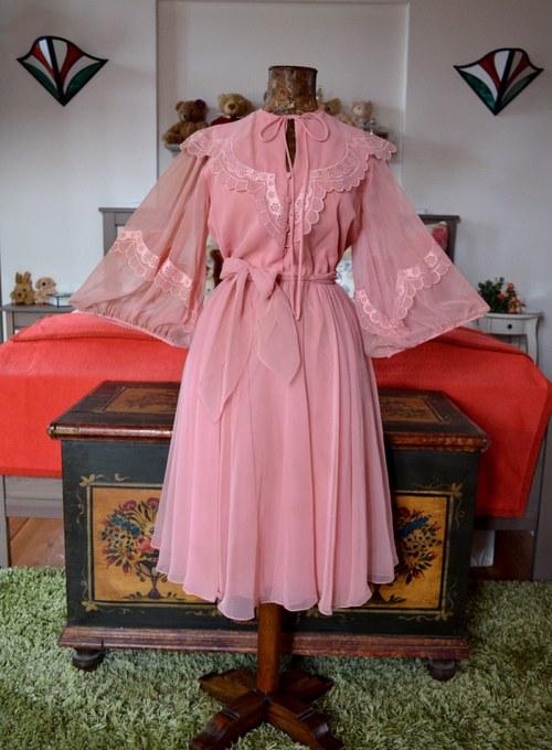09e614463c7 vintage šaty šifonové starorůžové - sleva · Panská dílna