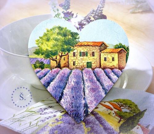 magnetka dřevěná - krajina v Provence
