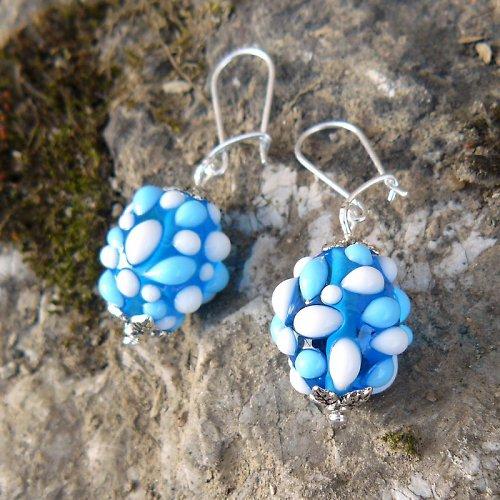 Náušnice - modré mozaikové olivy