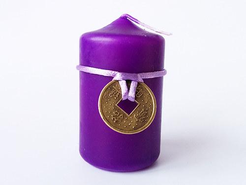 Malá svíčka s 1 mincí fialová