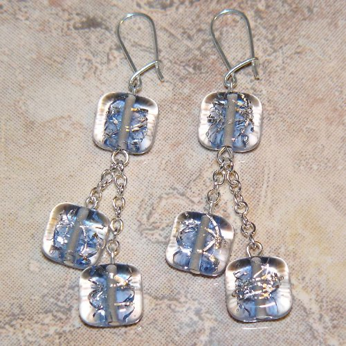 Náušnice se stříhaným stříbrem - vinuté perle