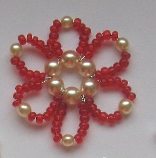 Vánoční ozdoba - kytka malá, červená