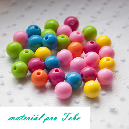 akrylové pastelové korálky - 10 ks - 12 mm