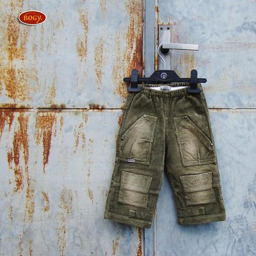 SLEVA - chlapecké khaki manžestráky do gumy