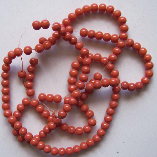 skleněné korálky LESK/ oranžová cihl./ 6mm/20ks