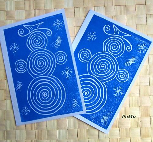 Modré zimní přání