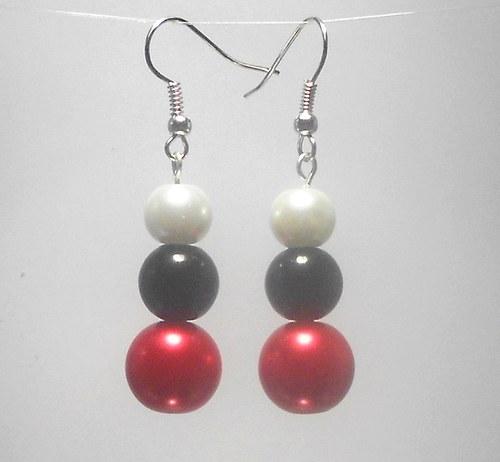 Perly - naušnice červená, černá a bílá