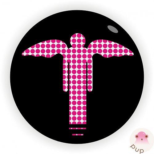 Anděl s růžovými puntíky