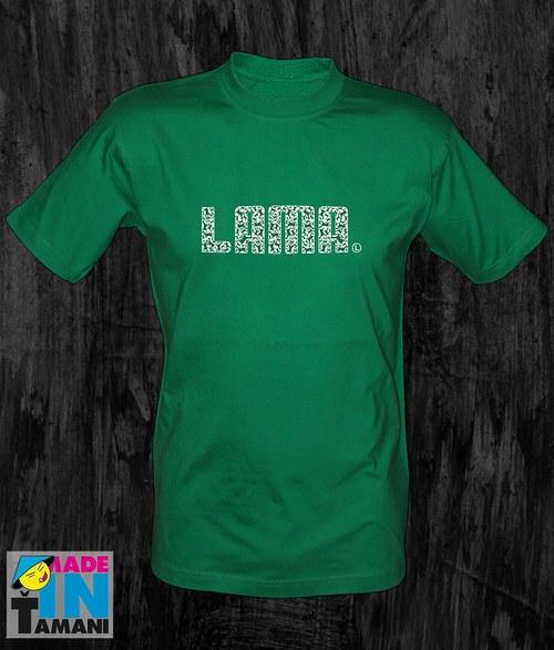 Pánské zelené tričko Lama 04