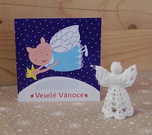 Vánoční přání - Anděl prasátko