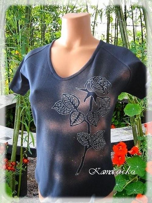 dámské tričko s růží-ruční malba