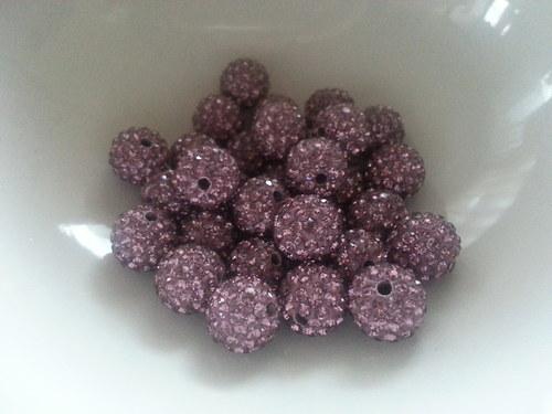 Nádherné shamballa korálky růžovo-fialové
